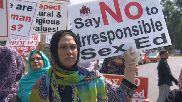 Protesters in Thorncliffe Park rallied against the government's new sex-ed curriculum on Saturday. The controversial curriculum came into effect on Tuesday.
