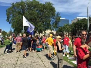 Supporters prepare to march in Winnipeg's third annual Labour Day parade.