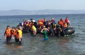Refugees arrive by boat to Lesbos, Greece