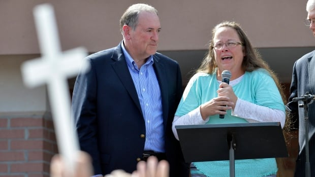 Rowan County clerk Kim Davis was greeted by thousands of supporters, including Republican presidential candidate Mike Huckabee, at a rally outside the Carter County Detention Center following her release on Tuesday.  She has said she will return to work on Monday.