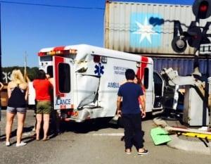 train hits ambulance