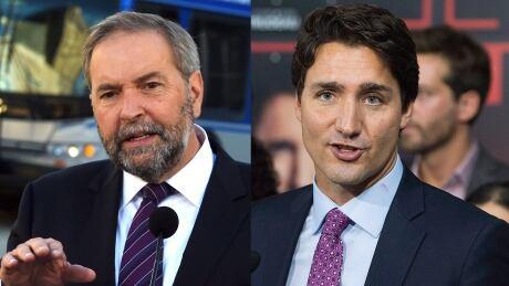 Mulcair Trudeau composite 2015