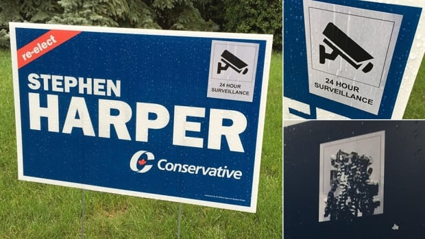 A member of Stephen Harper's local Conservative campaign was behind the 24-hour surveillance stickers that were popping up around Harper's riding. The stickers were put up in an attempt to deter vandalism but have since been taken down.