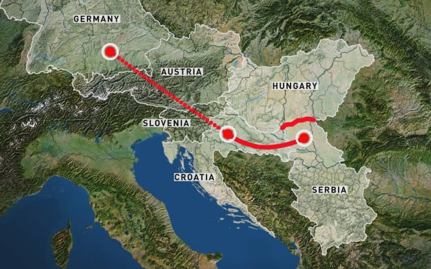 Migrant route map to Serbia, Croatia