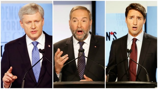 Stephen Harper, Tom Mulcair and Justin Trudeau will square off at a debate on the economy Thursday in Calgary.