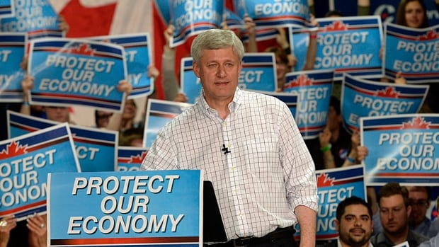 Conservative Leader Stephen Harper speaks during a rally in Calgary on Tuesday, where he began prepping for Thursday's debate. His message is pretty clear.