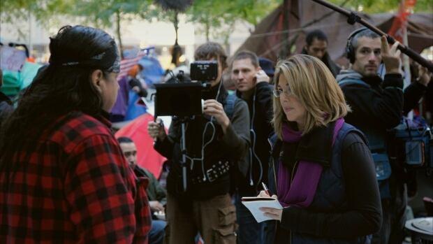Naomi Klein and crew in New York: DP Mark Ó Fearghaíl, Director Avi Lewis, Sound Daniel Hewett