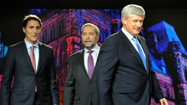 Liberal Leader Justin Trudeau (L), NDP Leader Thomas Mulcair (C) and Conservative Leader Stephen Harper talked energy at the leader's debate in Calgary in September.