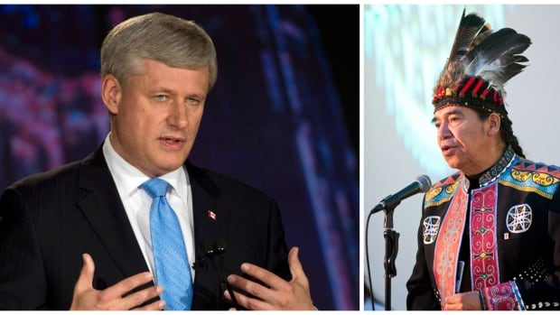 "In yesterday's federal leaders debate, Conservative leader Stephen Harper, left, used the phrase ""old stock Canadian"" in an statement about health care for refugees. Mi'kmaq elder Stephen Augustine, right, says the use of the term was inappropriate."