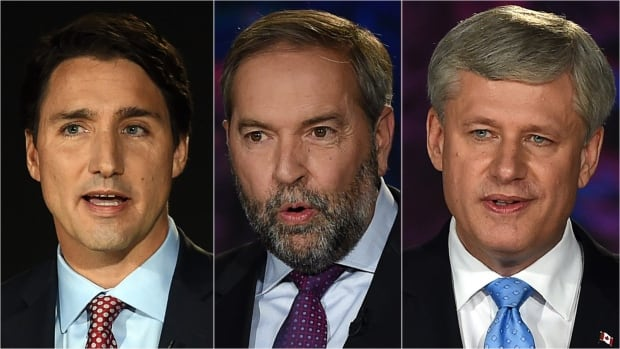 All three party leaders are seen during Thursday night's debate on the economy in a composite image.