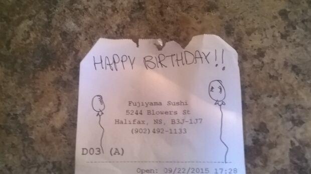 Fujiyama birthday receipt