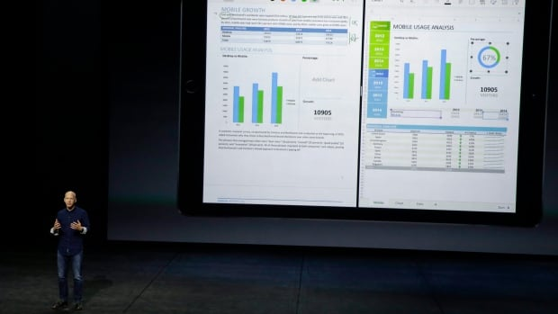 Microsoft's Kirk Koenigsbauer discusses the Microsoft Office app during an Apple event in San Francisco earlier this year. Microsoft recently released a series of Office apps for iPhones, iPads and Android devices, and Mac computers - part of its effort to catch up to competitors in the mobile and non-Windows space.