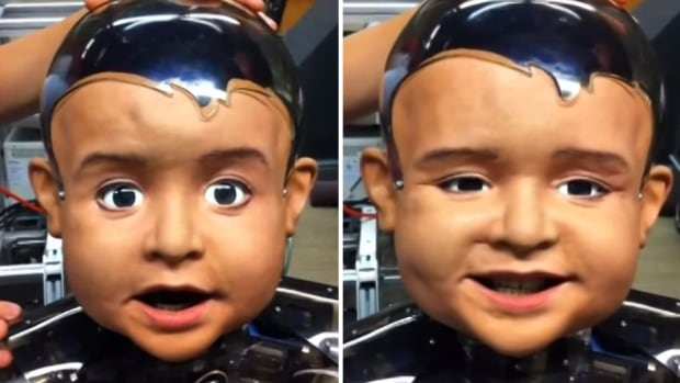 The head of Diego-san, the robot baby, was built by Hanson Robotics and has 27 moving parts. It was designed to move and communicate like a one-year-old child.