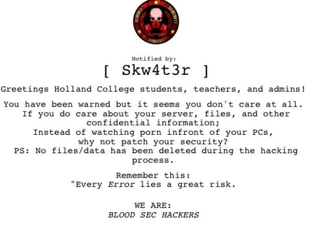 Blood Sec Hackers message on Holland College website