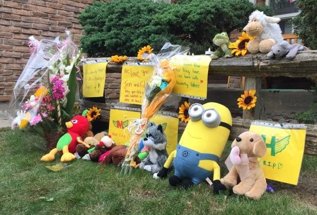 Memorial outside Neville-Lake home Monday Sept 28 2015