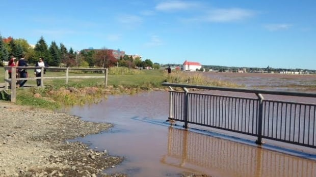 Tides in Moncton were already beyond their usual heights on Monday along the Petitcodiac River as New Brunswick's Bay of Fundy reaches its highest level in nearly 20 years this week.
