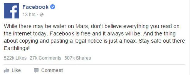 Facebook response to hoax