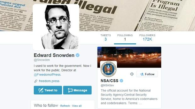 NSA whistleblower Edward Snowden is only following one other account on Twitter, and that is @NSAGov