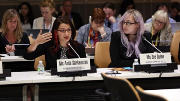 Anita Sarkeesian, a survivor of cyber violence, speaks at the launch of the new UN report titled Cyber Violence Against Women and Girls: A Worldwide Wake-Up Call.