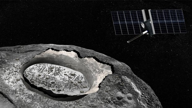 An artist's rendering shows a potential NASA spacecraft visiting the quirky asteroid Psyche. It's one of five missions the U.S. space agency might undertake as early as 2020.