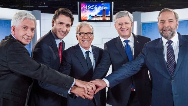 The final leaders' debate, organized by the Quebec network TVA, features, from left to right, Bloc Québécois Leader Gilles Duceppe, Liberal Leader Justin Trudeau,  Conservative Leader Stephen Harper and NDP Leader Tom Mulcair.