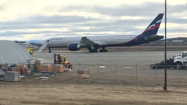 An Aeroflot aircraft landed at the Iqaluit International Airport Monday.