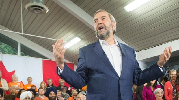 NDP Leader Tom Mulcair speaks to supporters at a town hall meeting Tuesday, October 6, 2015 in Surrey, B.C.