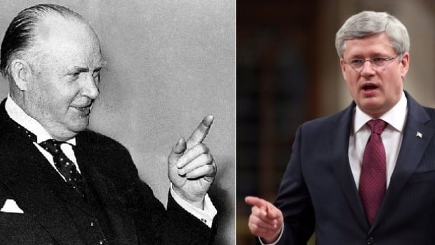 R.B. Bennett (left) was prime minister of Canada during The Great Depression, Stephen Harper (right) ran the government through the Great Recession of 2008-09.