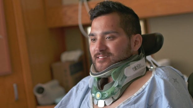 Alex Dristas recalls his hockey injury initially felt like his arms and legs were stuck up, pointed towards the sky.