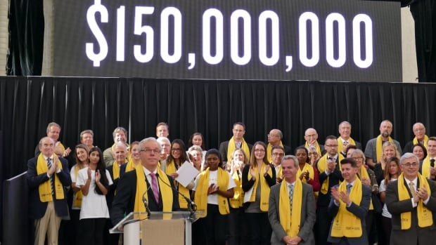Manitoba Premier Greg Selinger announces a $150-million government contribution to the University of Manitoba's Front and Centre campaign on Friday.