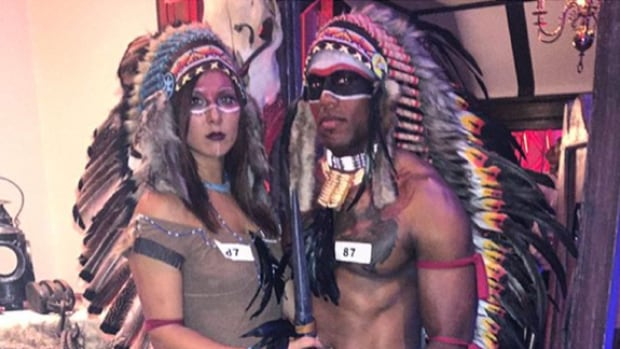 Alouette linebacker Kyries Hebert has drawn some criticism from aboriginal Canadians and others after sporting this outfit to a Hallowe'en party in Montreal.
