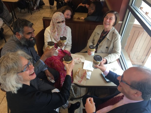 Zunera Ishaq celebrates at Tim Hortons