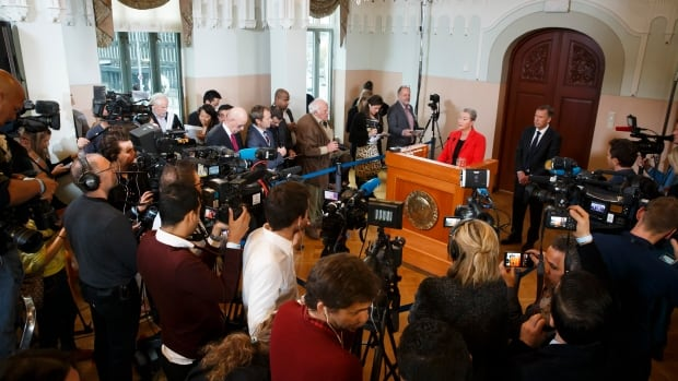Kaci Kullmann Five, head of the Norwegian Nobel committee, announces the Tunisian National Dialogue Quartet as the winner of 2015 Nobel Peace Prize during a news conference in Oslo, Norway on Friday.