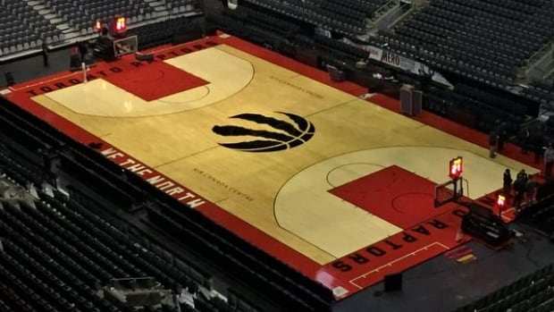 In a Twitter post Saturday, the Dinos revealed the hardwood featuring their red and black colours on beige hardwood.