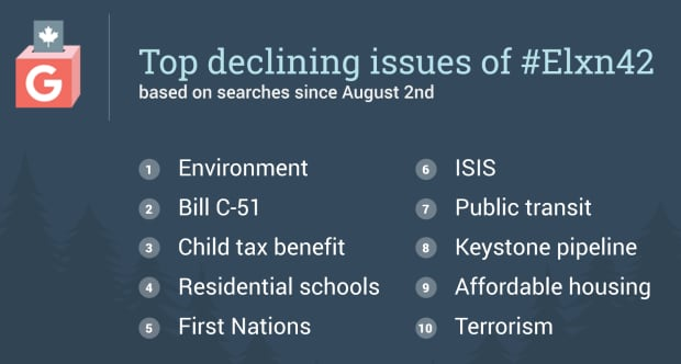 Top declining issues of the election