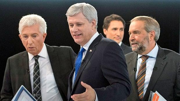 Bloc Quebecois Leader Gilles Duceppe, left, Conservative Leader Stephen Harper, Liberal Leader Justin Trudeau and NDP Leader Tom Mulcair, right, leave the set after a debate on Sept. 24  in Montreal.