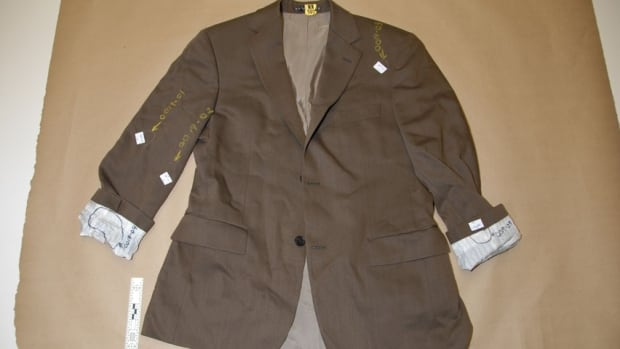 Dennis Oland's brown sports jacket, Sgt. Brian Wentzell photo