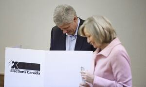 ELECTION Oct 19 2015 Stephen Laureen Harper cast ballots Calgary Alta