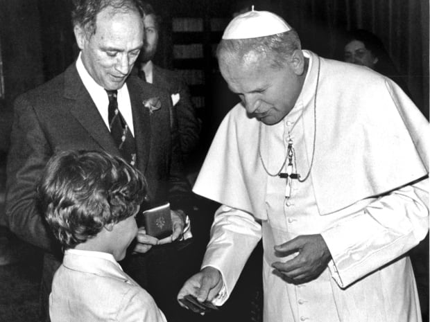 Justin was eight years old when he met Pope John Paul II with his father during a visit to Rome in June 1980.