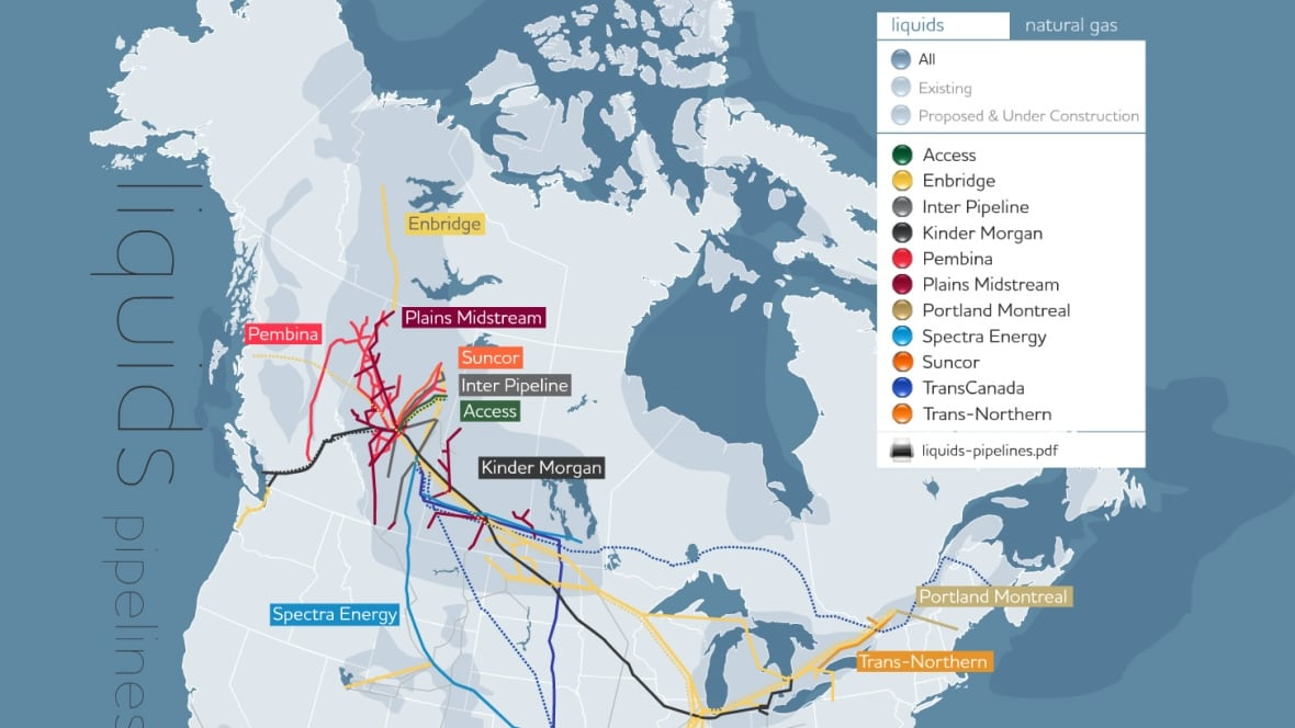 new interactive map shows locations of canada 39 s energy pipelines edmonton cbc news. Black Bedroom Furniture Sets. Home Design Ideas
