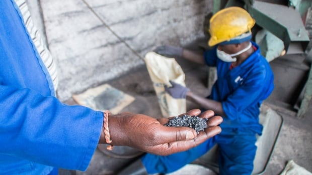 Tungsten mined in Rwanda. The metal is used in the production of some smartphones.