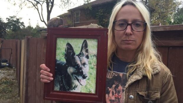 Karen Sutherland's 21-year-old deaf dog, Merrick, got out of her backyard in Collingwood, Ont., during a storm in mid-October and ended up wandering around the neighbourhood before being run over and shot dead by police.