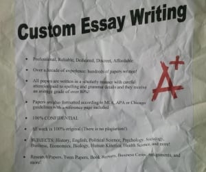 'Custom essay writing' poster