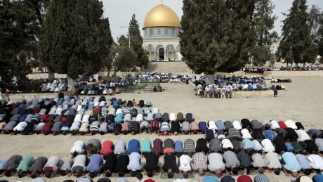 Friday prayers outside Dome of the Rock