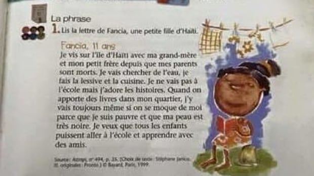 A story about a Haitian girl in a grammar book for schoolchildren has been called racist.