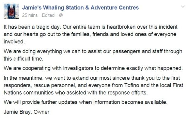 Jamies Whaling Station facebook statement