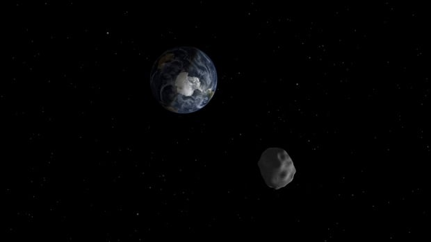 This NASA handout shows the 45-metre asteroid DA14 passing safely by Earth on Feb. 15, 2013. On Halloween, a much bigger space rock will make a similar journey.