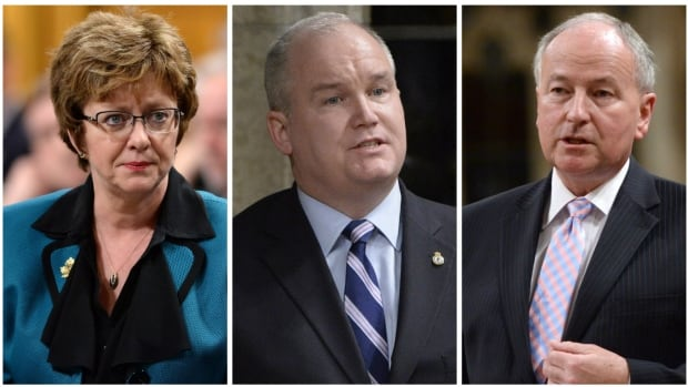 Diane Finley, Erin O'Toole (centre) and Rob Nicholson have decided to run for the interim leadership of the Conservative Party.
