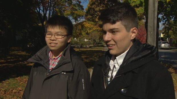 Grade 12 students Andre Bertram and Frank Nguyen created HeartWatch, a watch-like device that they say can track vital signs and call for help in an emergency.