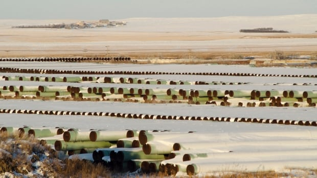 A depot used to store pipes for TransCanada Corp's planned Keystone XL oil pipeline in Gascoyne, North Dakota. The U.S. State Department says it will continue its review of the pipeline despite a request from TransCanada to pause the process.